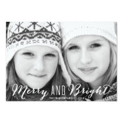 White Merry and Bright Holiday Photo Card Personalized Invites