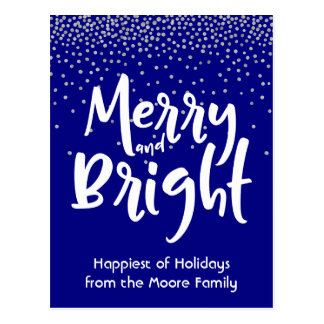 White Merry and Bright over Navy & Silver Confetti Postcard