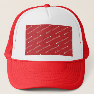 White Merry Christmas On Red Background Trucker Hat