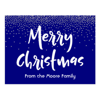 White Merry Christmas over Navy & Silver Confetti Postcard