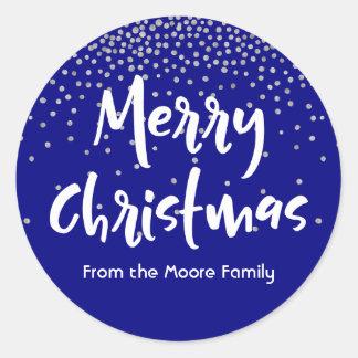 White Merry Christmas w/ Navy & Silver Confetti Classic Round Sticker