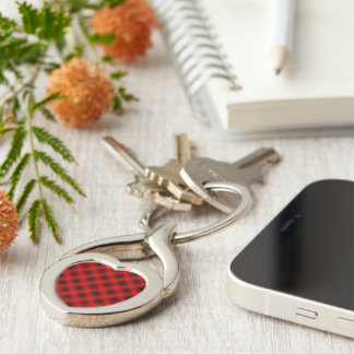 White Mesh Moire Silver-Colored Heart-Shaped Metal Keychain