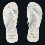 "White Metallic Floral &amp; Confetti Glitter | Wedding Flip Flops<br><div class=""desc"">Bridal Party Flip Flop Shoes. DIY Text. ⭐This Product is 100% Customizable. Graphics and text can be deleted, moved, resized, changed around, rotated, etc... 99% of my designs in my store are done in layers. This makes it easy for you to resize and move the graphics and text around so...</div>"
