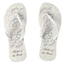 White Metallic Floral & Confetti Glitter   Wedding Flip Flops