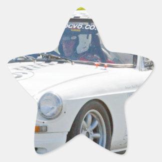 White MG race car Star Sticker