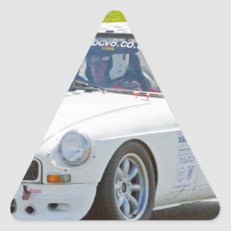 White MG race car Triangle Sticker