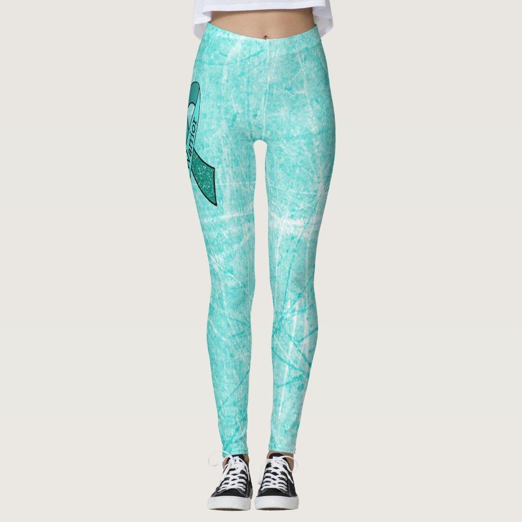 White MG Warrior Awareness Ribbon Leggings