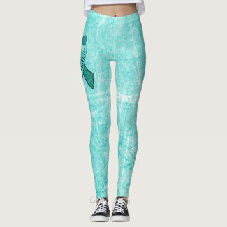 White MG Warrior Awareness Ribbon Leggings
