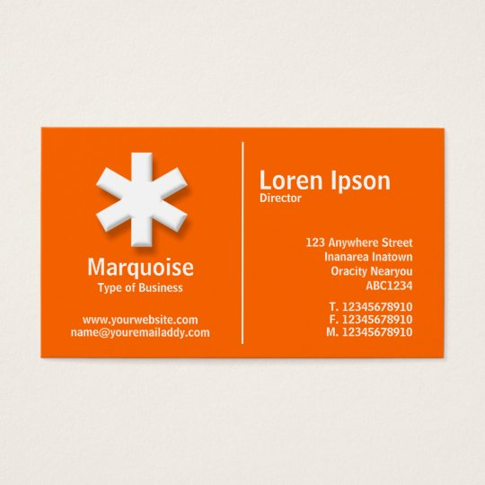 White Middle Rule Asterisk - Orange (FF6600) Business Card