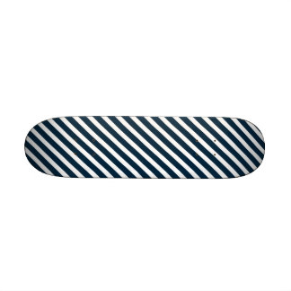 White & Midnight Blue Candy Cane Christmas Stripes Skate Board