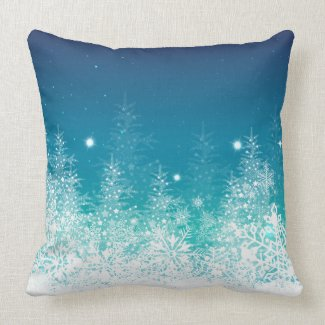 White & Midnight Blue Christmas SnowFlakes Pillow