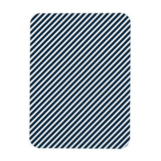 White & Midnight Blue Diagonal Candy Cane  Stripes Magnet