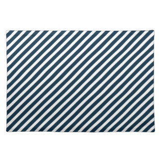 White & Midnight Blue Diagonal Candy Cane  Stripes Cloth Place Mat