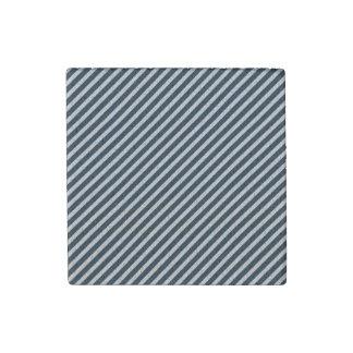 White & Midnight Blue Diagonal Candy Cane  Stripes Stone Magnet