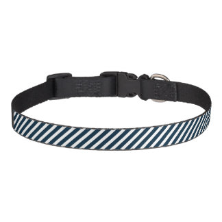 White & Midnight Blue Diagonal Candy Cane  Stripes Dog Collar