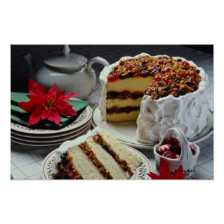 White Mincemeat, walnut white layer cake flowers Posters