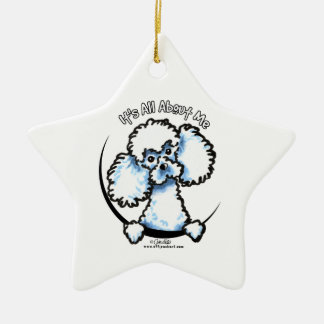 White Miniature Toy Poodle IAAM Ceramic Ornament