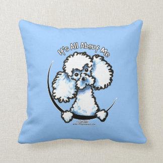 White Miniature Toy Poodle IAAM Throw Pillow