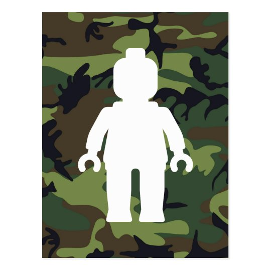 White Minifig in front of Camo Postcard