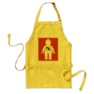 White Minifig with Brick Breaking Through Adult Apron