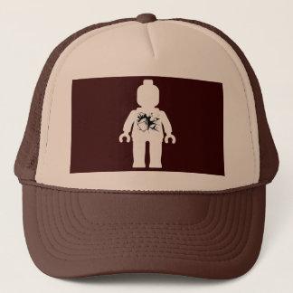 White Minifig with Brick Breaking Through Trucker Hat