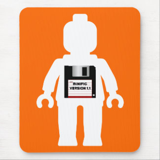 White Minifig with Floppy Disk Minifig Version 1.1 Mouse Pad