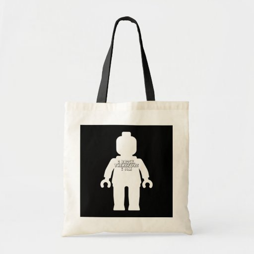 White Minifig with 'I Brick, Therefore I am' Logo Budget Tote Bag