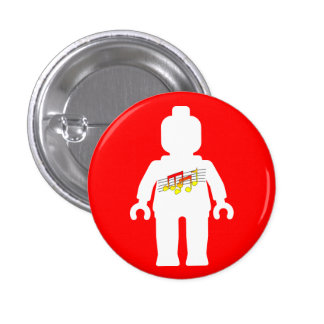White Minifig with Music Logo Pinback Button
