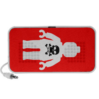White Minifig with Skull by Customize My Minifig Mini Speaker
