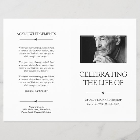 White Minimal Celebration of Life Funeral Program