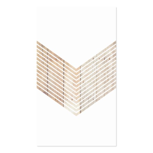 White Minimalist chevron with Wood Business Card Templates