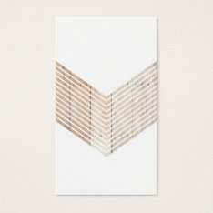 White Minimalist Chevron With Wood Business Card at Zazzle