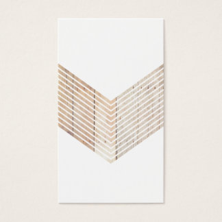 White Minimalist chevron with Wood Business Card