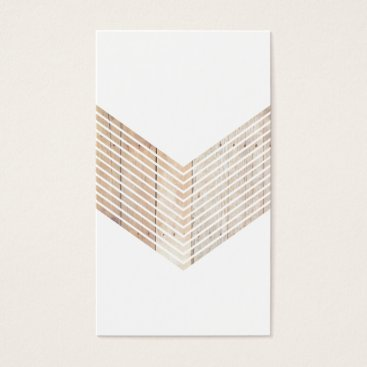 Professional Business White Minimalist chevron with Wood Business Card