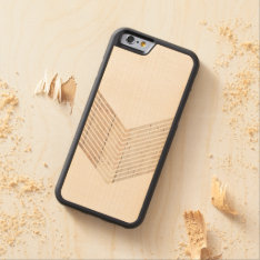White Minimalist Chevron With Wood Carved Maple Iphone 6 Bumper Case at Zazzle