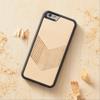 White Minimalist chevron with Wood Carved Maple iPhone 6 Bumper Case