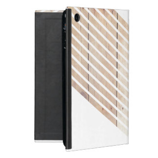 White Minimalist chevron with Wood Cases For iPad Mini