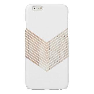 White Minimalist chevron with Wood Glossy iPhone 6 Case
