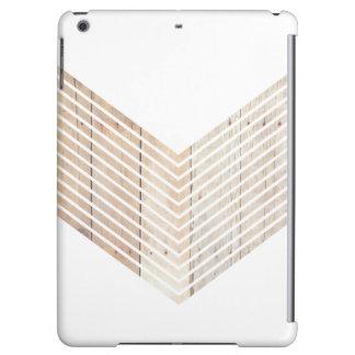 White Minimalist chevron with Wood iPad Air Cases