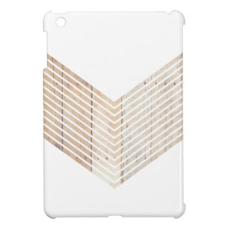 White Minimalist chevron with Wood iPad Mini Cover