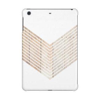 White Minimalist chevron with Wood iPad Mini Covers