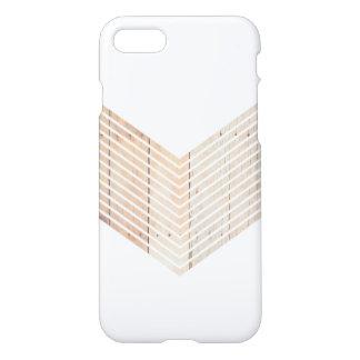 White Minimalist chevron with Wood iPhone 8/7 Case