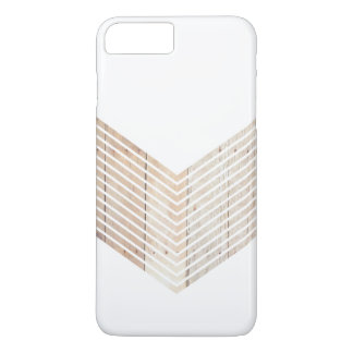 White Minimalist chevron with Wood iPhone 8 Plus/7 Plus Case