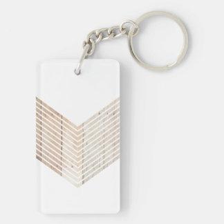 White Minimalist chevron with Wood Double-Sided Rectangular Acrylic Keychain