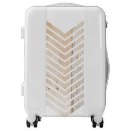 White Minimalist chevron with Wood Luggage