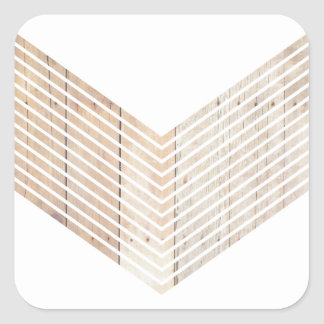 White Minimalist chevron with Wood Square Sticker