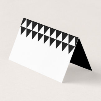White Minimalist Name Black Triangle Pattern Place Card