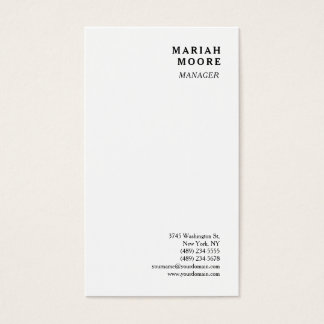 White Minimalist Personal Presentation Business Card
