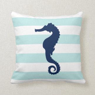 White Mint & Blue Wide Stripes Pattern Seahorse Throw Pillow