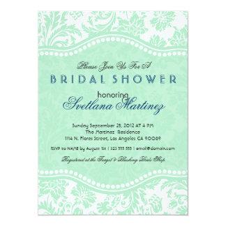 "White & Mint-Green Floral Dam Bridal Shower Invite 5.5"" X 7.5"" Invitation Card"